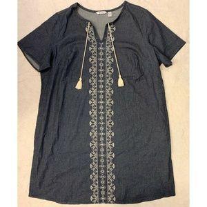 D&Co. Womens Shift Tie Neck Dress Sz 1X Blue